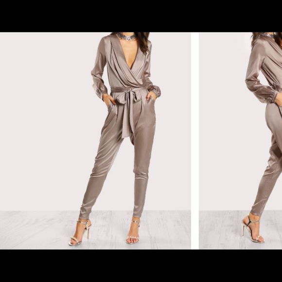 Forever 21 Pants Satin Long Sleeve Jumpsuit Poshmark